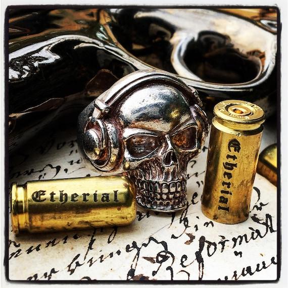 Etherial Jewelry Rock Chic Talisman Luxury Biker Custom Handmade Artisan Pure Sterling Silver .925 Bespoke Handcrafted Skull DJ Badass Ring