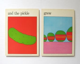 the Pickle Grew - Vintage MOMA Art Cards - Fun Quote Prints - Food Art - Typography Art Naughty Wall Decor Museum of Modern Art Flash Cards