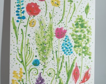 Watercolor Floral Handmade Greeting Card