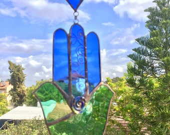 TWO DOVES HAMSA Hand,Blue and Green colored with beads