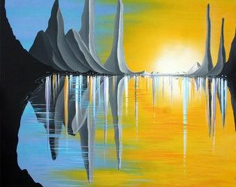 "Titan Inhabited- Fantasy Art  30"" x 30"" Mixed Media on Gallery Canvas"