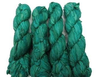 SALE New! Sari Silk Ribbon, 100g , Color: Seagreen