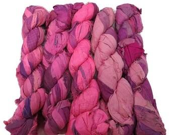 SALE New! Recycled Sari Silk Ribbon, 100g skeins , Bubblegum