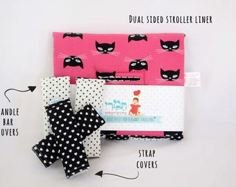 Universal stroller set- stroller liner & strap covers and handle bar covers. cats and hearts print.