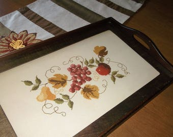 Vintage Glass Top Needlepoint Serving Tray Wood Serving Tray Glass Top Serving Tray