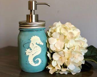 Seahorse Mason Jar Soap Dispenser
