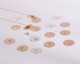 Pretty Bracelet Golden Silver Or Rosegolden Disc Circle Stamped Letter