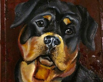 Rottweiler Oil Painting on One Hundred Years old Tin Shingle