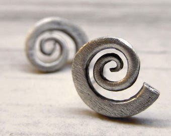 Silver spiral studs, Sterling silver Earrings, Handmade Contemporary Jewelry, Shell Studs, Nautilus earrings, Sterling Silver 925