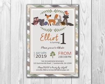 Woodland Birthday Invitations and Birthday Stats | Digital File - Print at Home
