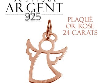 Disk 925 sterling silver plated rose gold 18.7 mm Angel Cupid charm