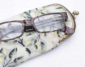 Vintage Grey and Yellow Leaf print cotton Glasses Case with Gold Snap Fastening.