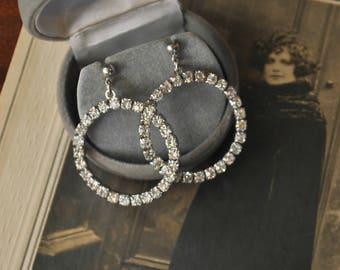 Vintage Rhinestone Hoop Pierced Earrings