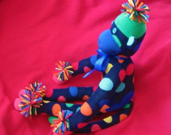 Mardi Gras Sock Monkey Stuffed Animal Toy Doll Plush