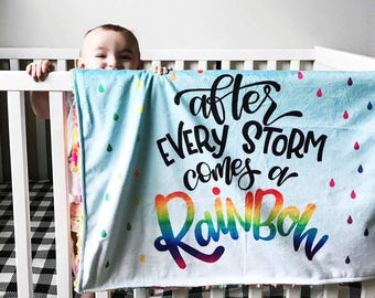 """After Every Storm Comes A Rainbow Baby V2 Blanket • Minky • 30 x 30"""" • Rainbow Baby • Loss • Pregnancy • Gift • Shower • 3-4 Week Turnaround"""