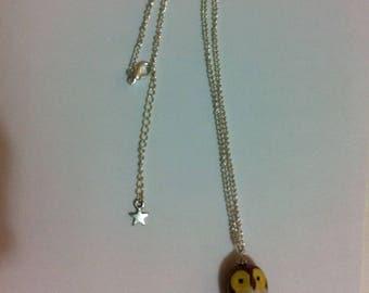 OWL necklace, Brown and yellow porcelain bead