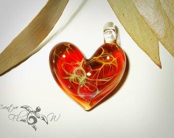Red Jewel Heart Pendant - Glass Pendant - Glass Jewelry - Love & Energy - Borosilicate - Unique Jewelry - Glass Art - Lush Focal Bead
