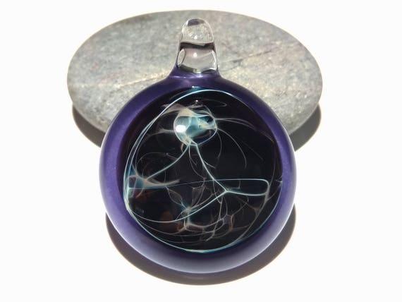 Deep Purple Nebula Pendant - Universe - Heady Pendant - Blown Glass Necklace - Glass Art - Glass Jewelry - Handmade Necklace - Free Shipping