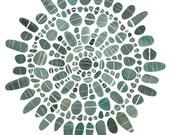 Stone Mandala V greetings card