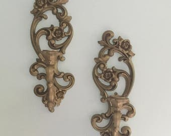 Vintage Ornate Gold Homco Candle Wall Sconces Shabby Chic Eclectic French  Boho Chic Home Decor