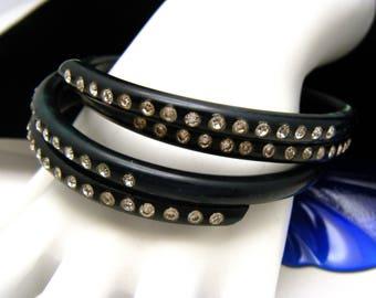 Pair Vintage Celluloid Bangle Bracelets Clear Rhinestones Black Dark Blue