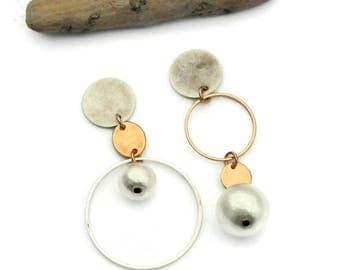Asymmetrical earrings, Clip on earrings, Mismatched earrings, Asymmetric, white, Rose gold jewelry, Silver earring, Hoop earrings, For her 2