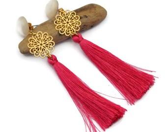 Fuchsia earrings, Clip on earrings, Tassel earrings, Ethnic earrings, Long tassel, Long earrings, Boho jewels, Fringe earrings, Gift for her