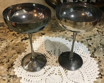 Vintage silverplated champagne glasses.
