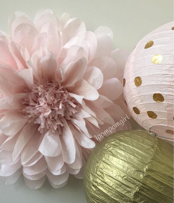 Rose gold 1 giant tissue paper flower 2 paper lanterns wedding il570xn mightylinksfo