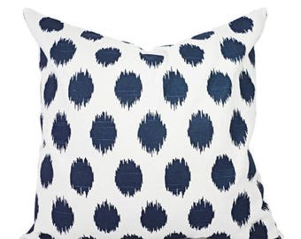 15% OFF SALE Navy Blue Pillow Covers - Two Navy Ikat Throw Pillow Covers - Polka Dot Pillow - Navy Accent Pillows - Decorative Pillow - 16x1