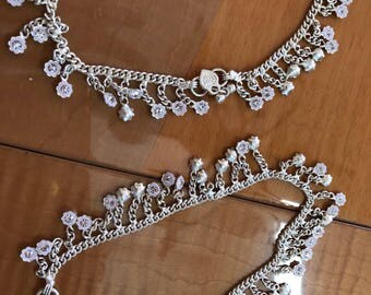 Anklets-(pair) white metal with flower and stone dangles