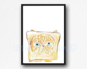 Cat Print Peeking Toast Cat Watercolor Painting Print Ginger Cat Orange Cat Wall Decor Cat Lover Gift Peekaboo Print Wall Art Home Decor
