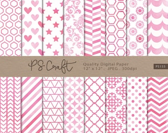 Pink Watercolor Digital Papers, Pink Digital Paper Pack, Pink Patterns, Watercolor Papers, Wedding Invitation
