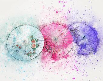 Japanese parasol water color art print