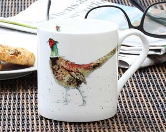 Pheasant Mug - Fine Bone China, Country Kitchen, Gift for Him, Cottage Chic, New Home Gift, Christmas Gift