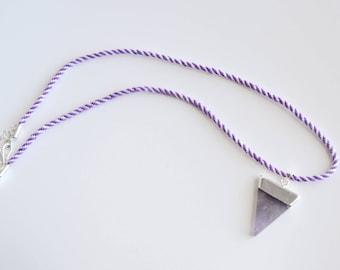 Kumihimo Amethyst Pendant Necklace