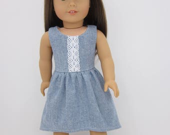"18"" doll clothes-  Chambray dress with hi/low hemline   and headband."