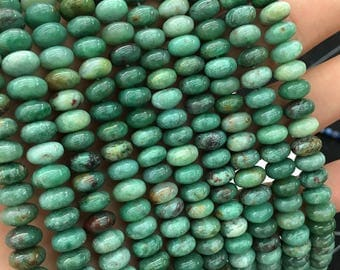 African Bloodstone Jade Beads, Natural Green Bloodstone Gemstone Beads, Smooth Beads, Rondelle Stone Beads, 5x8mm 15''