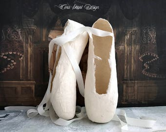 Limited Edition Paper Pointe Shoes - Gift Boxed - Paper Ballet Shoes - Decorative Shoes - Ballet Gifts - Pointe shoes - Shabby Chic Gifts