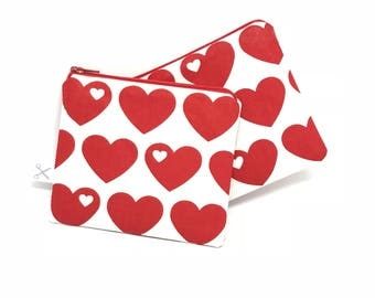 Mini zipper pouch Hearts red