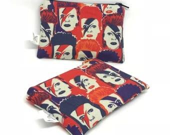 Mini zipper pouch Bowie purple/orange