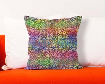 Moroccan throw pillow, Colorful pillow case, Ethnic pillow cover, Square lumbar pillow, Decorative Pillow, Boho home decor, Pdp050-1
