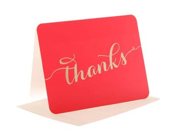 Hot Pink boxed thank you cards - cerise/gold (10s)