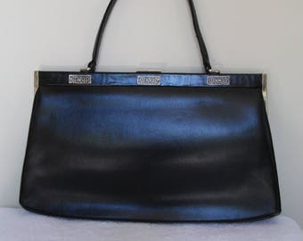 1950s/60s Black Leather Oversize Handbag - Silver Tone Filigree Trim