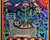 "12"" Huichol painting, Native art, Mexican wall art, Mexican painting, Mexican folk art, Mexican decor, Mexican art, Huichol art, 30-257"