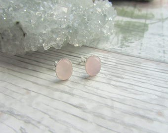 Natural Rose Quartz Stud Earrings - Silver Plated // 925 Sterling Silver Gemstone Jewellery - Pink Earstuds