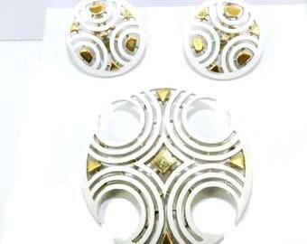 Crown Trifari Modernist Brooch Earrings Set, Crown Trifari Maltese Cross Brooch Pin, Great Vintage Condition, Vintage Jewellery