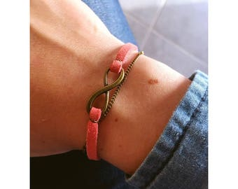 Infinity bracelet suede Red