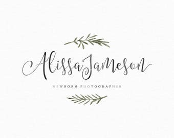 Watercolor Twig Logo Design - Watermark Rosemary Photography Logo and Watermark - Premade Photography Watermark - Premade Logo Design 245