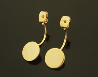 Coin Disc Back Stopper, S69-P4, 2 pcs, Nickel Free, 23mm long, 16K Gold Plated Brass, Stamping Banks Backs, Stoppers, Ear Back